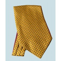 Fine Silk Madder Flame Paisley Pattern Cravat in Honey Gold