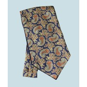 Fine Silk Old Master Paisley Pattern Cravat in Navy