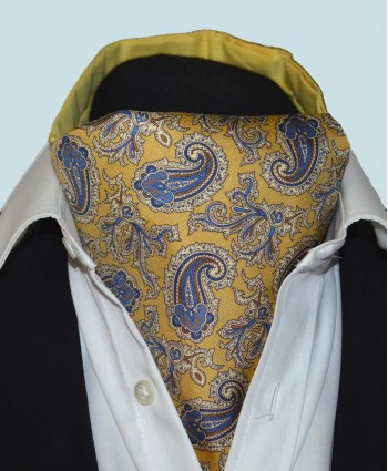 Fine Silk Old Master Paisley Pattern Cravat in Sunshine Gold