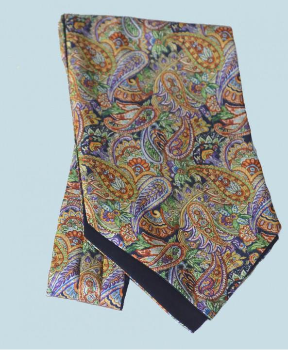 Fine Silk Bells of St Clements Paisley Pattern Cravat in Navy