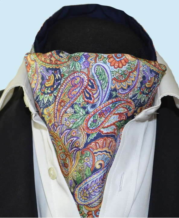 Fine Silk Bells of St Clements Paisley Pattern Cravat in Navy