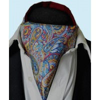 Fine Silk Bells of St Clements Paisley Pattern Cravat in Dark Red