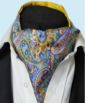 Fine Silk Bells of St Clements Paisley Pattern Cravat in French Blue