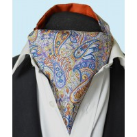 Fine Silk Bells of St Clements Paisley Pattern Cravat in Purple