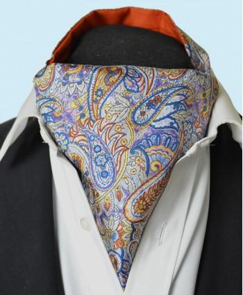 Fine Silk Bells of St Clements Paisley Pattern Cravat in Purple