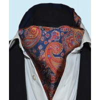 Fine Silk Persian Prince Paisley Pattern Cravat in Navy