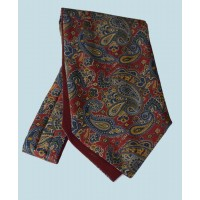 Fine Silk Persian Prince Paisley Pattern Cravat in Regal Red
