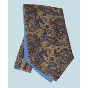 Fine Silk Persian Prince Paisley Pattern Cravat in Coffee Cream