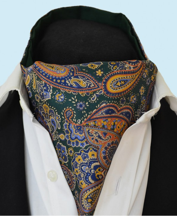 Fine Silk Persian Prince Paisley Pattern Cravat in Bottle Green