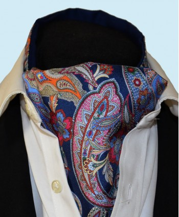 Fine Silk Carnaby Carnival Paisley Pattern Cravat in Navy