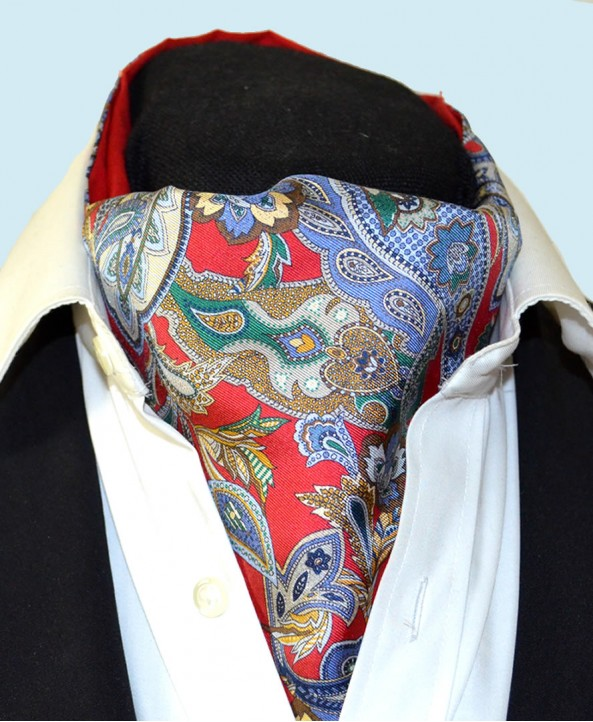 Fine Silk Carnaby Carnival Paisley Pattern Cravat in Bright Red