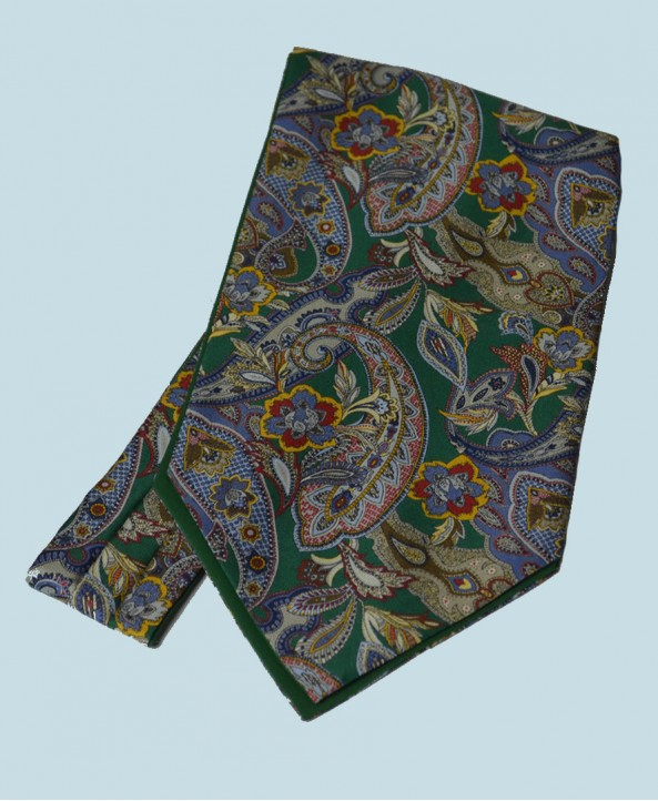 Fine Silk Carnaby Carnival Paisley Pattern Cravat in Mid Green