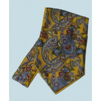 Fine Silk Carnaby Carnival Paisley Pattern Cravat in Golden Yellow