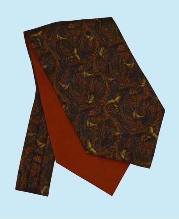 Silk Cravat with Bronze Pheasants Town and Country Style on a Golden Background