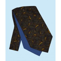 Silk Cravat with Golden Pheasants Town and Country Style on Green Background
