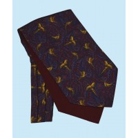 Silk Cravat with Golden Pheasants Town and Country Style on Navy Background