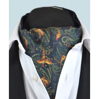 Fine Silk Pheasant and Paisley Pattern Cravat in Navy