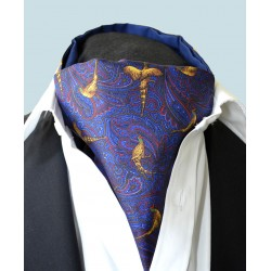 Fine Silk Pheasant and Paisley Pattern Cravat in Blue