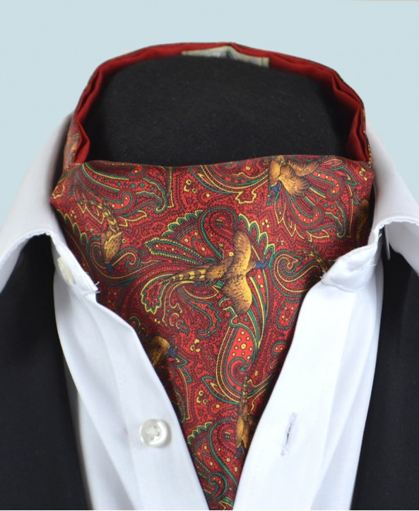 Fine Silk Pheasant and Paisley Pattern Cravat in Red