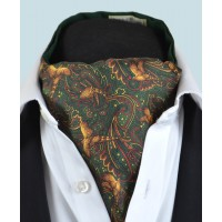 Fine Silk Pheasant and Paisley Pattern Cravat in Green