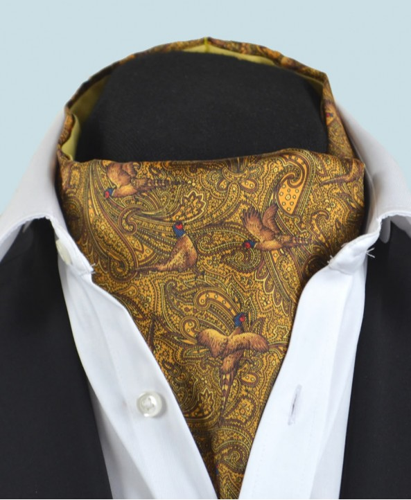 Fine Silk Pheasant and Paisley Pattern Cravat in Gold