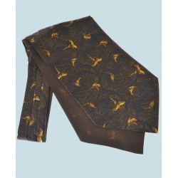 Fine Silk Pheasant and Paisley Pattern Cravat in Bronze