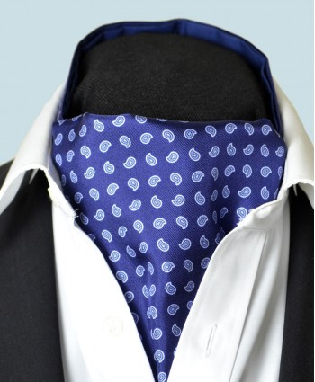 Fine Silk Blue Raindrops Pattern Cravat in Dark Blue