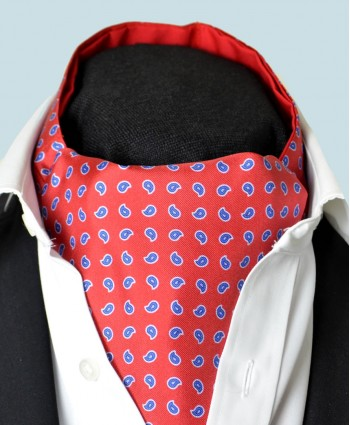 Fine Silk Blue Raindrops Pattern Cravat in Bright Red
