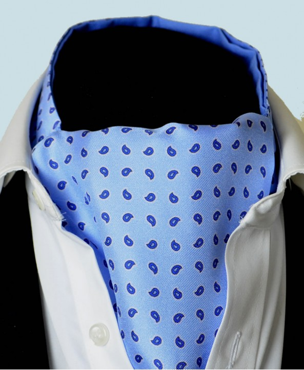 Fine Silk Blue Raindrops Pattern Cravat in Light Blue
