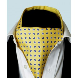 Fine Silk Blue Raindrops Pattern Cravat in Light Yellow