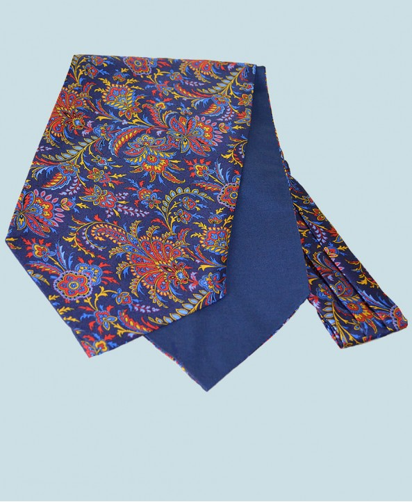 Fine Silk Tropical Triumph Paisley Pattern Cravat in Navy