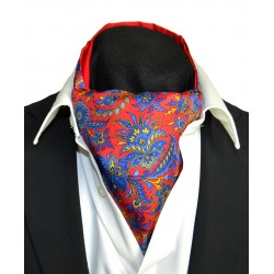 Fine Silk Tropical Triumph Paisley Pattern Cravat in Red