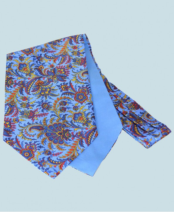 Fine Silk Tropical Triumph Paisley Pattern Cravat in Light Blue