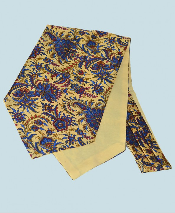 Fine Silk Tropical Triumph Paisley Pattern Cravat in Light Yellow