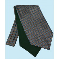 Silk Cravat with Neat Squares Design in Green