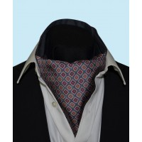 Silk Cravat with Neat Squares Design in Grey