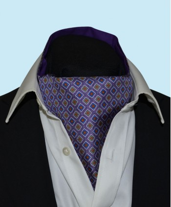 Silk Cravat with Neat Squares Design in Regal Purple