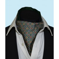 Silk Cravat with Paisley Design in Olive Green