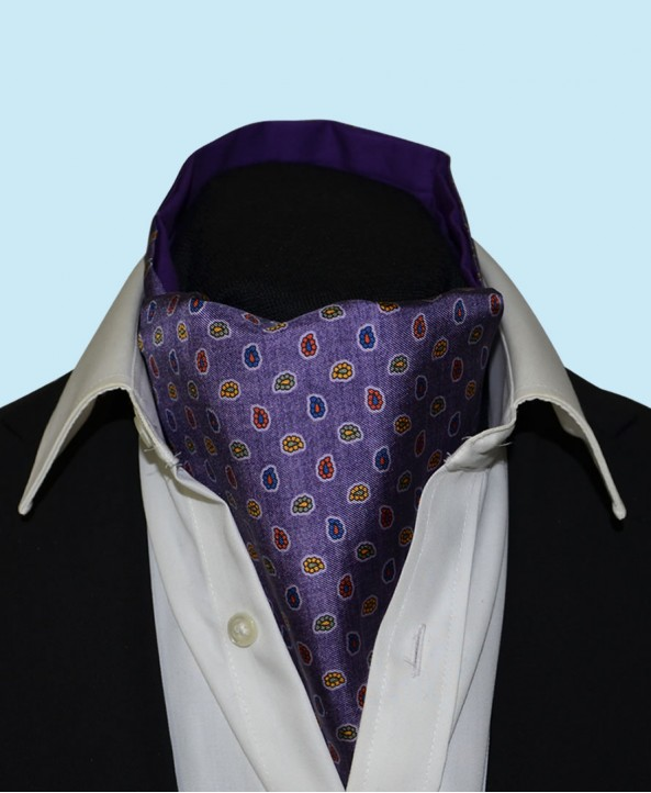 Silk Cravat with Paisley Design in Regal Purple
