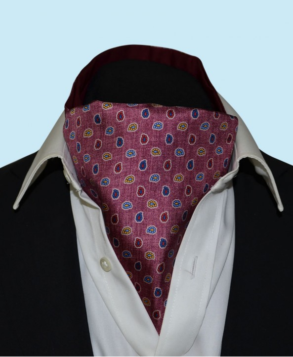 Silk Cravat with Paisley Design in Wine Red