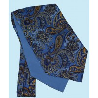 Silk Cravat with Paisley Design in Vibrant Blue with Yellow