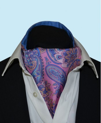 Silk Cravat with Paisley Design in Vibrant Pink with Lilac