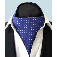 Fine Silk Raindrop Pattern Cravat in Navy with Light Blue