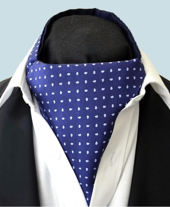 Fine Silk Raindrop Pattern Cravat in Navy with Light Blue