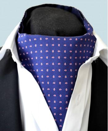 Fine Silk Raindrop Pattern Cravat in Navy with Red