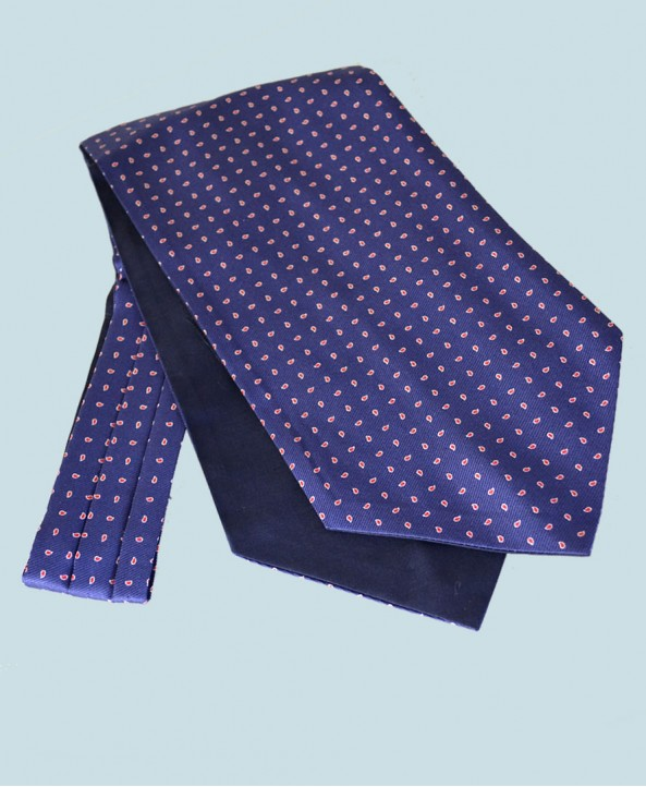 Fine Silk Raindrop Pattern Cravat in Navy with Red