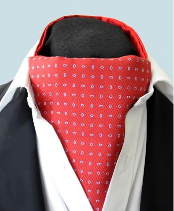 Fine Silk Raindrop Pattern Cravat in Red with Navy