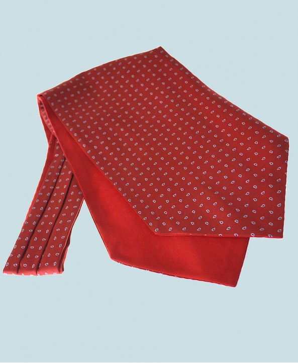 Fine Silk Raindrop Pattern Cravat in Red with Navy