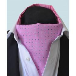 Fine Silk Raindrop Pattern Cravat in Pink with Navy