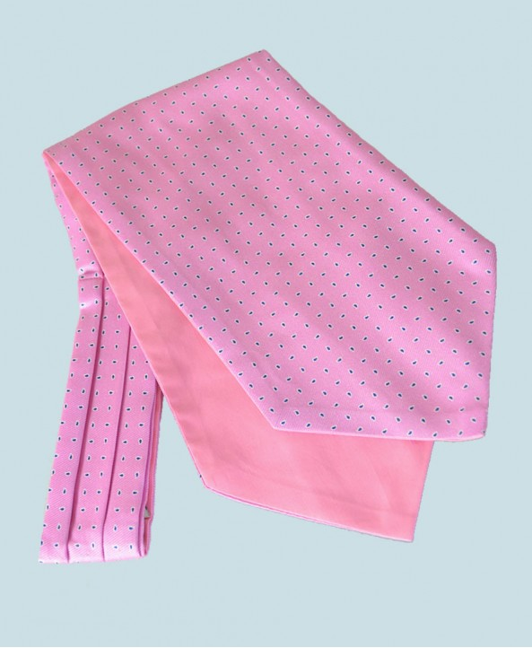 Fine Silk Raindrop Pattern Cravat in Pink with Navy